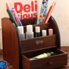 Wood office supplies multi-function pen holder