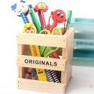 creative wooden pen holder----Wood color,Blue,Brown