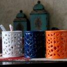 Jingdezhen simple modern ceramic pen holder----Orange,Blue,White