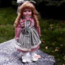 "Beautiful Doll Heritage Mint 15""w/Stand Long Blonde Curls Blue Eyes Calico Dress"