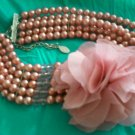 Pink Pearl and Pink Crytal Beaded Necklace