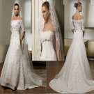 IVORY  COLOR  plus size Mermaid  off-shoulder  lace  wedding  dress