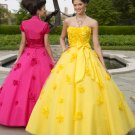 2011  Custom-made sunflowers  beaded Ball gown prom dress