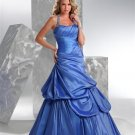 Blue  One  shoulder  Beaded  Princess  prom gown