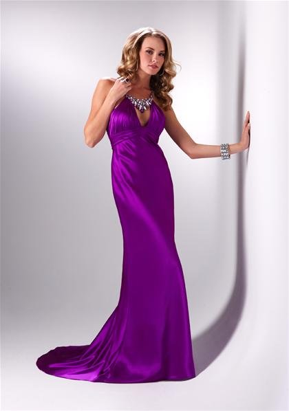 Halter  V  Neck  Beaded  evening  dress
