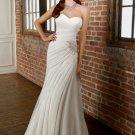 Simple  chiffion  ruffle  sweatheart  beaded  wedding dress