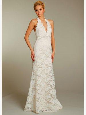 Halter  V  Neck  embroidered  A-line wedding  dress