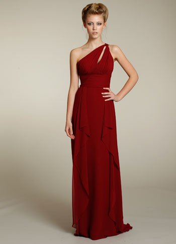 Long  one shoulder  straps  ruching  bridesmaid  dress