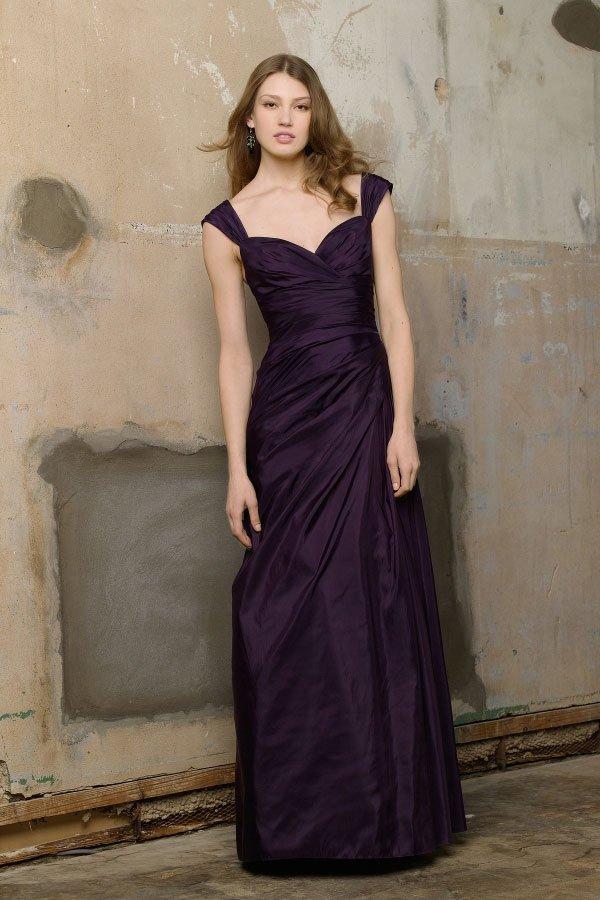 Purple  designer  sweatheart  Long  Bridesmaid  dress