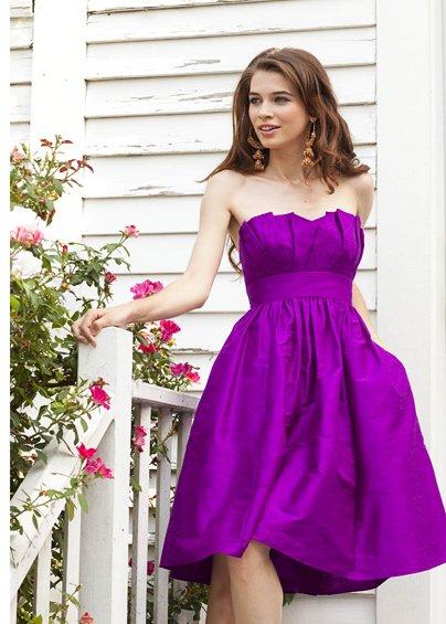 Purple  Designer  strapless  bridesmaid  dress