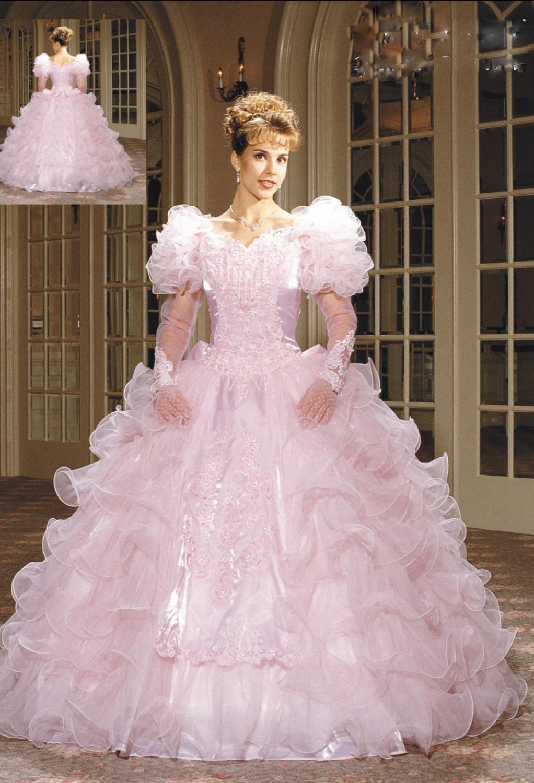 2011  Uk  style  Princess  Appliqued long  Sleeves  wedding dress