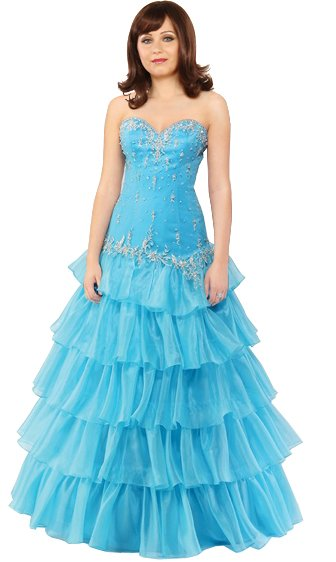 Strapless frilled ball gown  Prom dress