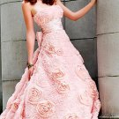 Long elegant strapless dress with rose embellishments PROM dress