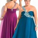 2012  Plus  SIze Sweatheart Beaded one  Shoulder  Prom dress