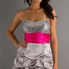 Short sweetheart dress with ruffled skirt and sequin bodice.cocktail dress