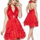 Red  Deep V  Neck  simple  cocktail  dress