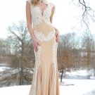 2016   short sleeve  high neck open back lace appliqued  chiffon mermaid lace evening dress