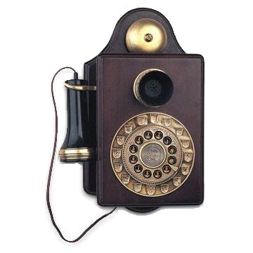 1903AW Replica Antique Wall Phone, Cabinetry is Made of Mahogany Wood