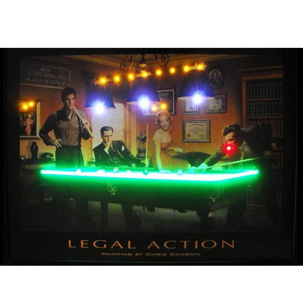 Legal Action Neon LED Picture Elvis, Marilyn, Bogie & Dean