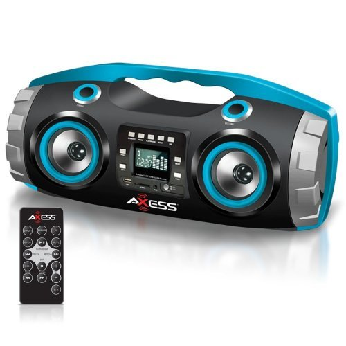 AXESS Axess PBBT2709 Portable Bluetooth FM Radio/CD/MP3/USB/SD Heavy Bass Boombox Blue