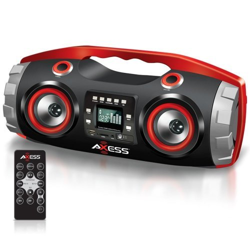 AXESS Axess PBBT2709 Portable Bluetooth FM Radio/CD/MP3/USB/SD Heavy Bass Boombox Red