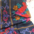 Midnight Blue Floral Print Square Scarf