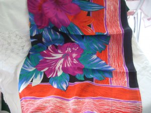 Large Rectangle Tropical Floral Print Scarf
