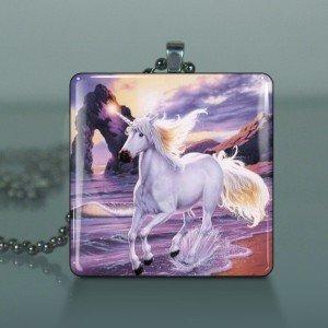 Unicorn 3 glass pendant and necklace