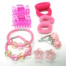 hair accessories pink star clip claw flower hair band set