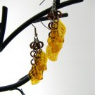 Eclectic Brown and Amber Leafy Chainmaille Earrings