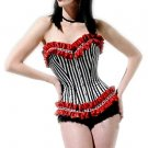 Striped Ruffle Corset with G String