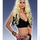Punk Rock Blonde and Black Streaked Wig