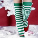 Striped Green and White Thigh High Stockings