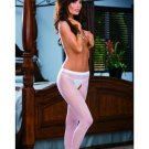 Open Crotch Sheer Panty Hose White