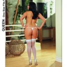 Back Seam Thigh Hi Sheer Stocking White Queen