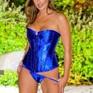 Corset with Rhinestone Accents Blue
