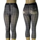 Striped Pattern with rear World Print Footless Leggings