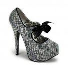 Ladies Full Rhinestone with Matching Bow Pumps