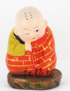 Hand Painted Clay Doll k606 little monk