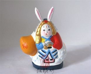 Hand Painted Clay Doll  a66024-3 rabbit