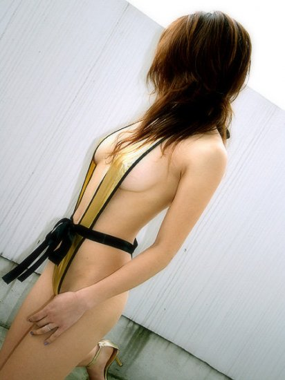 Super sexy halter style harness shiny golden suit taste