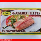 4 CANS MACKEREL FISH FILLETS IN SOYBEAN OIL - NO SKIN OR BONES