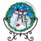 Snowmen Hand Painted Art Glass Tea Light Candle Holder Holiday Decor TeaLight