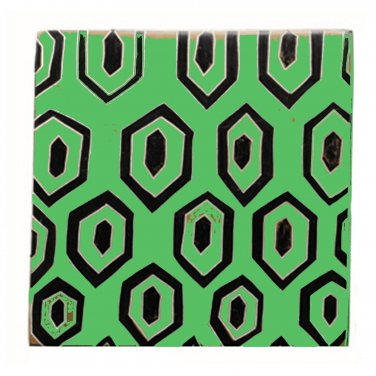 Trivet African Art Stone Geometric Textile Motif Lime Color Hand Crafted Hot Pad