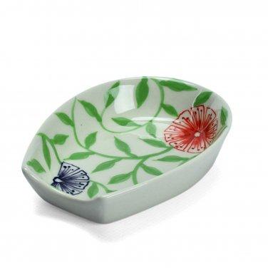Ceramic Exotic Flower Design Spoon Rest Hand Painted Kitchenware