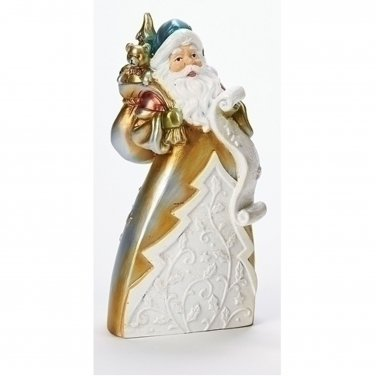 Santa Carrying Bag of Toys Pearl Finish Figurine Christmas Holiday Decoration
