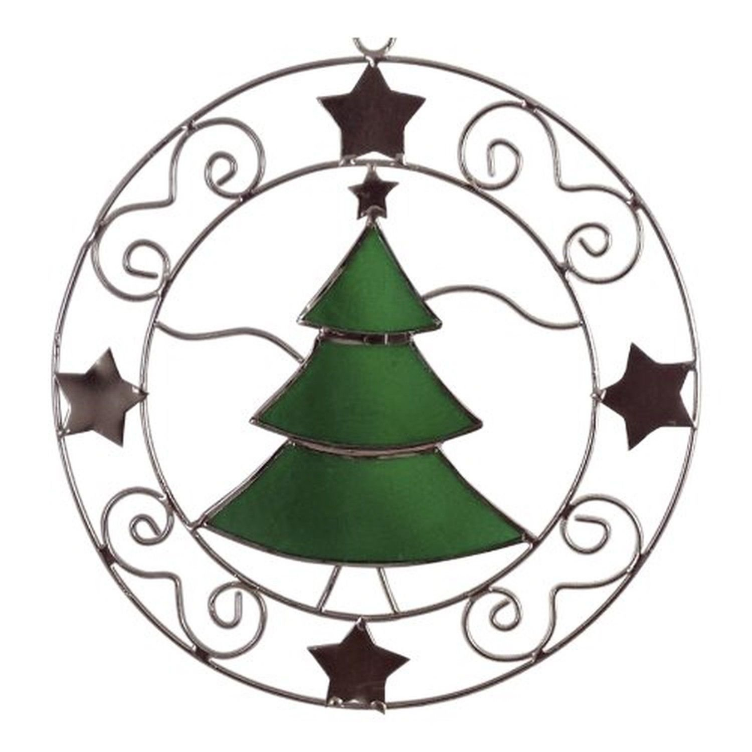 Green Christmas Tree n Star Sun catcher Holiday Ornament Silver Metal Decor