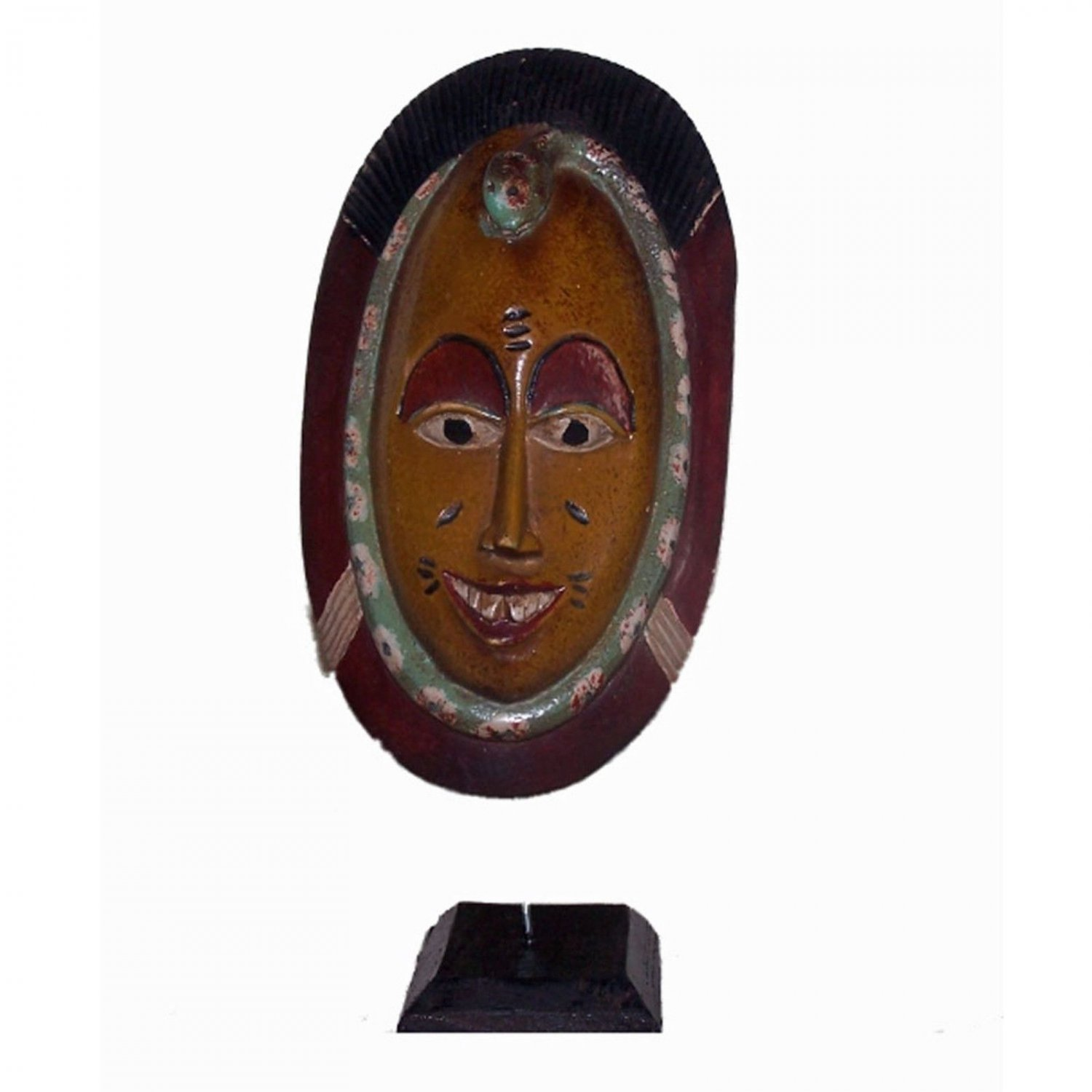 African Art Passport Mask on Stand Sculpture Carved Wood Statue Authentic Decor