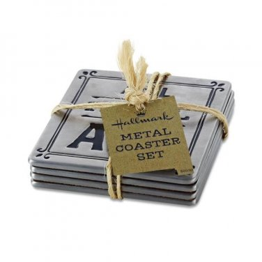 Coaster Set Silver Toned Metal ALL HAIL ALE Beer Brewery 4 pack Bar Coasters