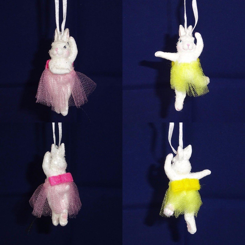 Hallmark Easter Bunny Ballerina Hanging Ornaments Set of 2 Yellow Pink 1 each